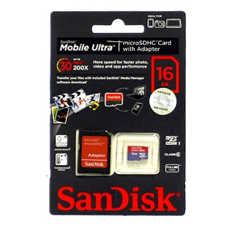 Sandisk Mobile Ultra Micro Secure Digital HC (SDHC, Class 6) 16GB