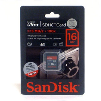 Sandisk Secure Digital HC (SDHC) Ultra 16GB (20MB/s, Class 6)