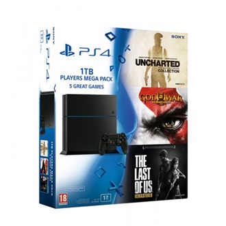 Sony PlayStation 4 1000GB fekete + God of War 3 + The Last of Us + Uncharted Collection