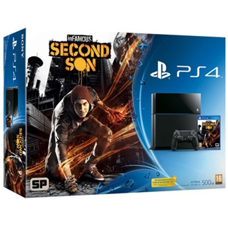 Sony PlayStation 4 500GB fekete + inFamous: Second Son