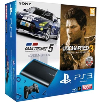 SONY PlayStation 3 500GB fekete + GT5 Academy Edition + Uncharted 3 GOTY csomag