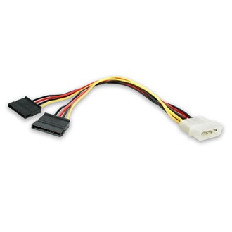 StarTech Molex Power 4pin -> SATA Power 15pin M/F tápkábel 0.3m