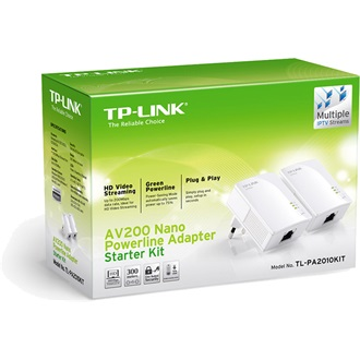 TP-Link 200Mbps Nano Powerline Ethernet Adapter Kit, Plug and play; Nano Size, HomePlug AV, Twin Pack,  Support Multiple