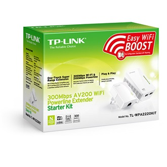 TP-Link 300Mbps Wireless AV200 Powerline Extender starter Kit, 200Mbps Powerline Datarate, 2 10/100Mbps Fast Ethernet po