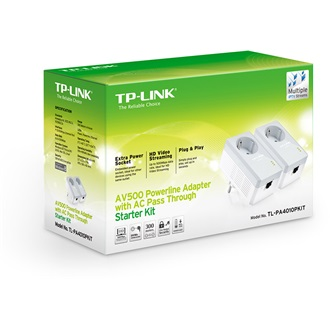 TP-Link TL-PA4010P AV500 Starter Kit 220-240V 500Mbps powerline adapter KIT