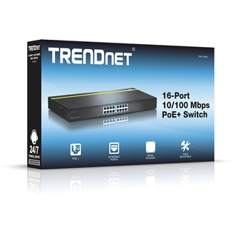 TRENDnet TPE-T160H 16-Port 10/100 Mbps 250W PoE rack switch