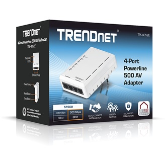 TRENDnet TPL-4052E 500Mbps 4-Port 10/100Mbps powerline adapter