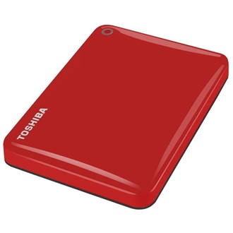 "Toshiba Külső HDD 2.5"" - 1TB Canvio Connect II Vörös (USB3.0; ~5Gbps; NTFS/HFS+; fényes; 10 GB Cloud Storage)"