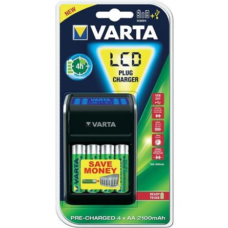 Varta LCD Plug akkutöltő + AA 2100 mAh x 4 (R2U)