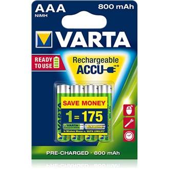 Varta Ready To Use 1.2V AAA Ni-Mh 800mAh akku 4db (R2U)