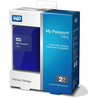 "Western Digital My Passport Ultra 500GB 5400rpm USB3.0 2,5"" külső HDD (hardware encryption) kék"