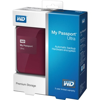 "Western Digital My Passport Ultra 500GB 5400rpm USB3.0 2,5"" külső HDD (hardware encryption) piros"