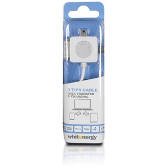 Whitenergy Apple 30pin USB mini A USB micro A -> USB A M/M adatkábel 1m fehér