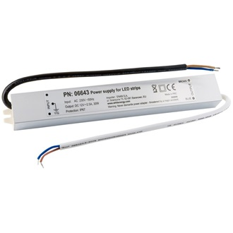 Whitenergy power supply for LED strips 30W | 12V DC | 2.5A | external