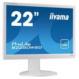 "iiyama Prolite B2280WSD-W1 22"", TN LED, 1680x1050, 5ms, VGA, DVI-D, speakers"